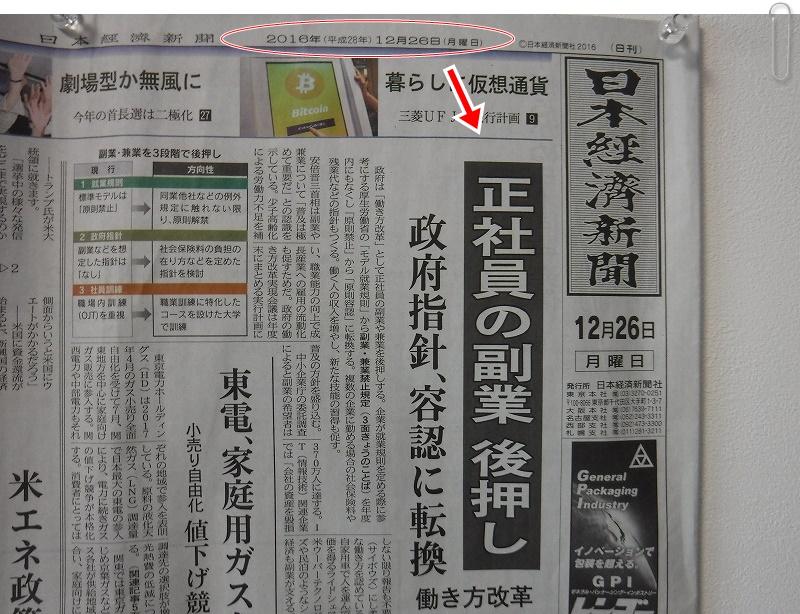 日本経済新聞2016年12月26日朝刊1面記事スクラップ