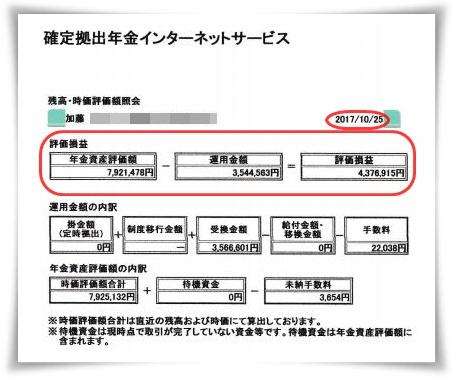 ワタクシ加藤光騎の401K確定拠出年金_個人型DC移行後の2017年10月25日付運用結果