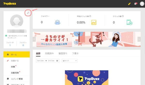 TopBuzzで稼ぐやり方実践記1_TopBuzz公式サイト_アカウントサイト詳細設定へ