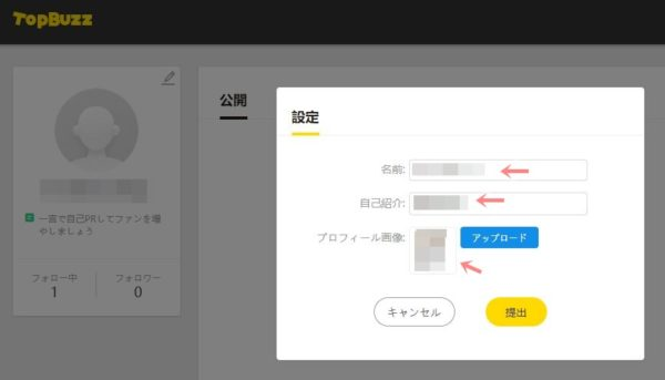 TopBuzzで稼ぐやり方実践記1_TopBuzz公式サイト_アカウントサイトで名前プロフィール登録
