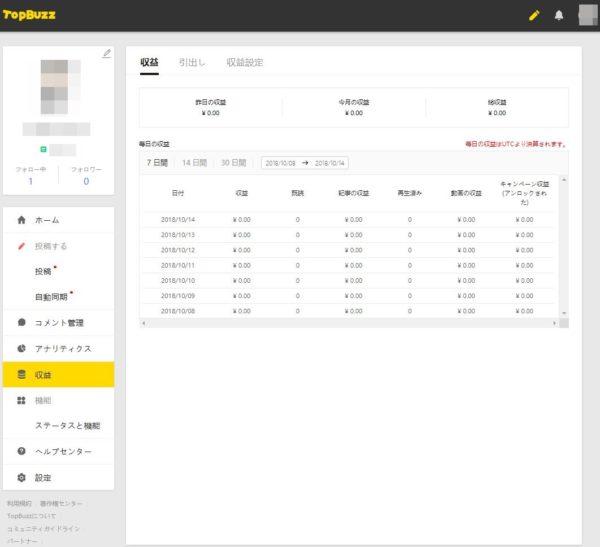 TopBuzzで稼ぐやり方実践記1_TopBuzz公式サイト_アカウントサイト収益設定完了後の収益確認画面